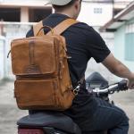 กระเป๋าเป้ สะพายหลัง กระเป๋าเดินทาง เป็นหนังวัวแท้ทั้งใบ เหมาะสำหรับท่านที่ชอบท่องเที่ยว ผจญภัย {โทนสีน้ำตาล}