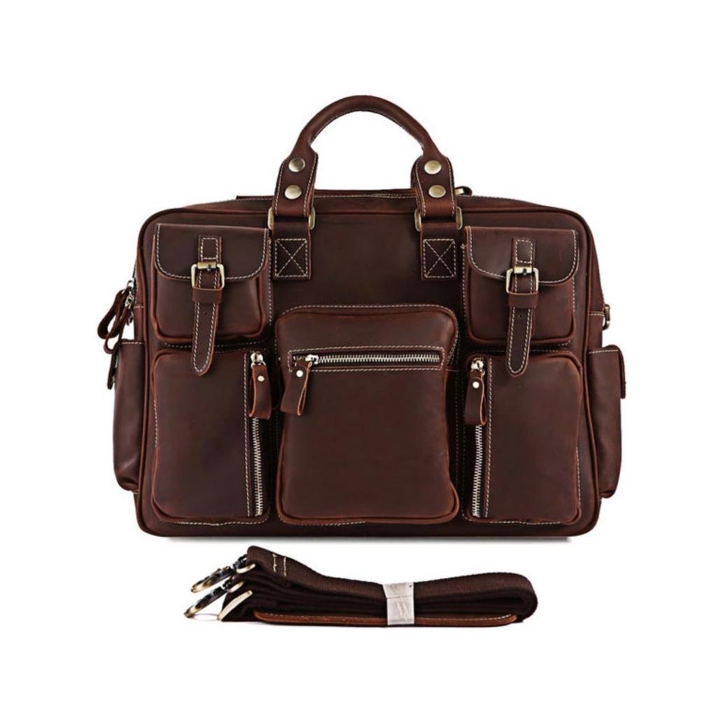 กระเป๋าสะพายข้าง กระเป๋าเดินทาง ใส่เอกสาร A4 ใส่โน๊ตบุ๊คขนาด 15 นิ้วได้ ผลิตจากหนังวัวแท้ โทนสีน้ำตาล