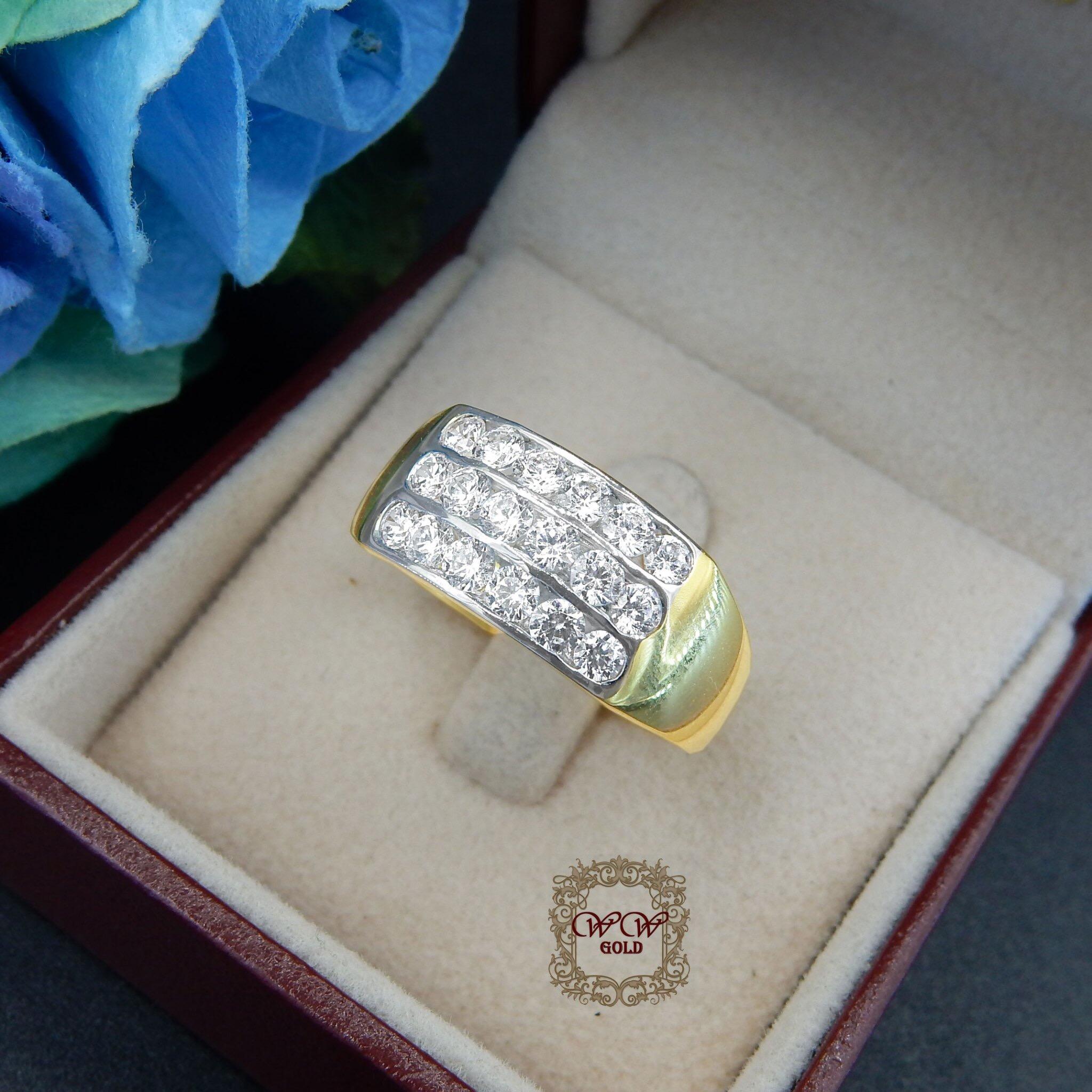 แหวนเพชร3 แถว (เพชรสวิส cz)