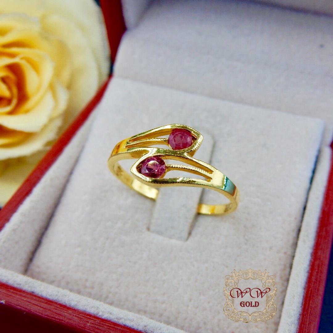 แหวนประดับทับทิมแท้