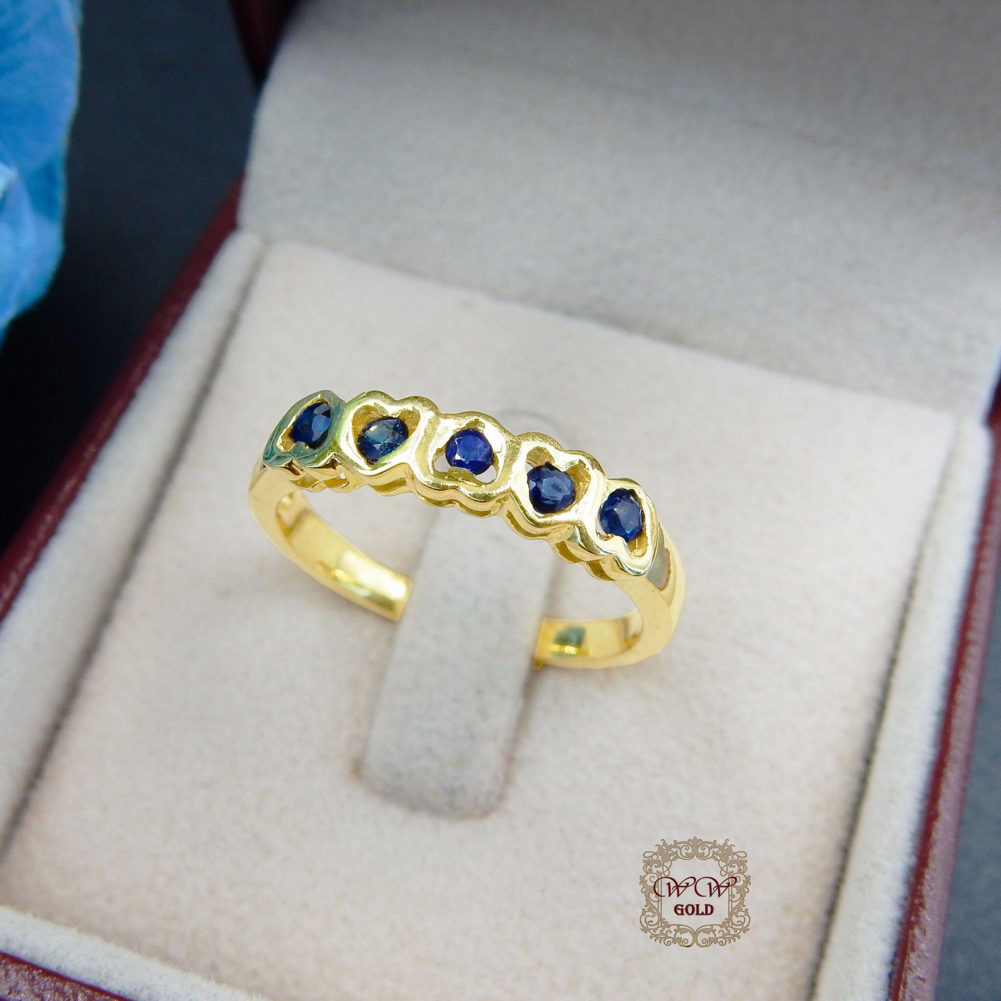 แหวนเพชรดีไซน์หัวใจ (ไพลินแท้)