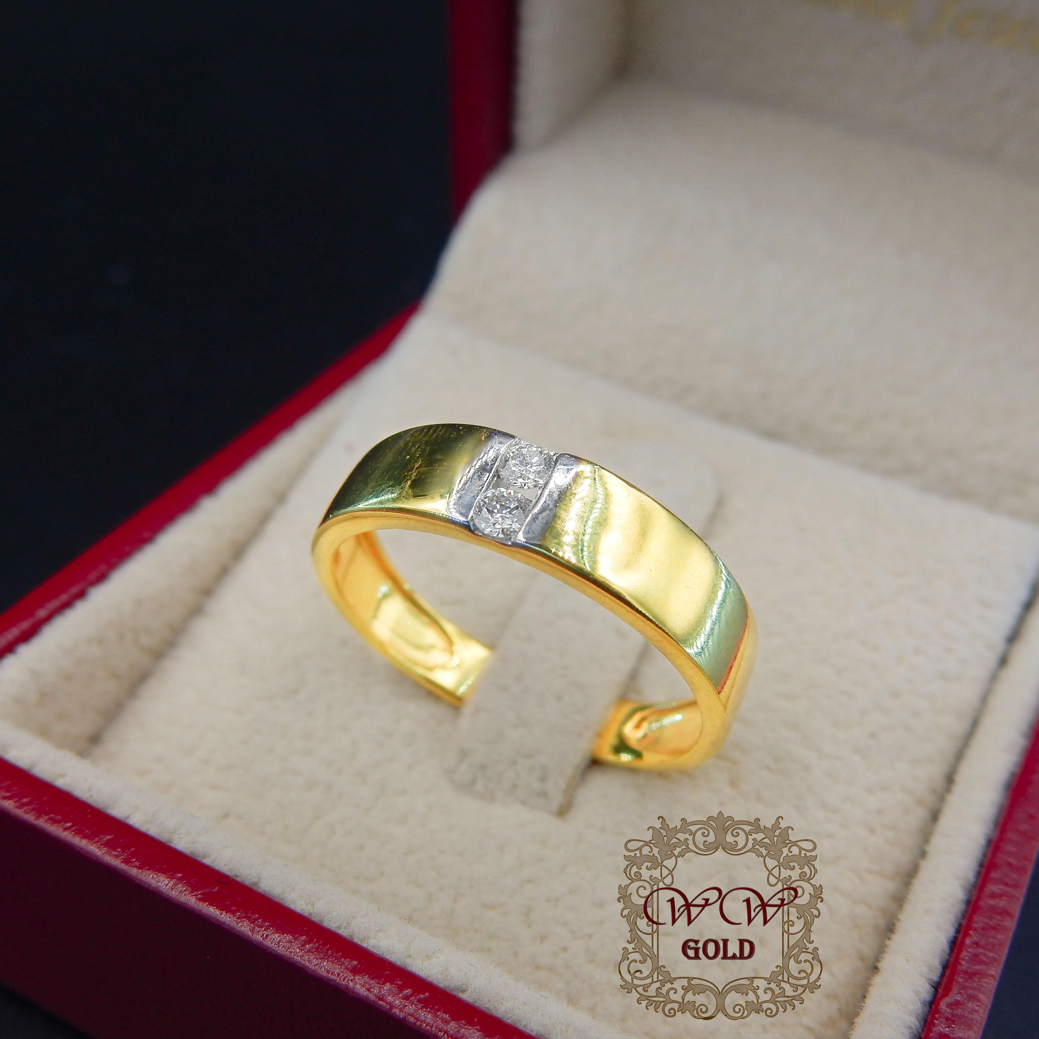 แหวนเพชรกลาง 2 เม็ด simple the best1
