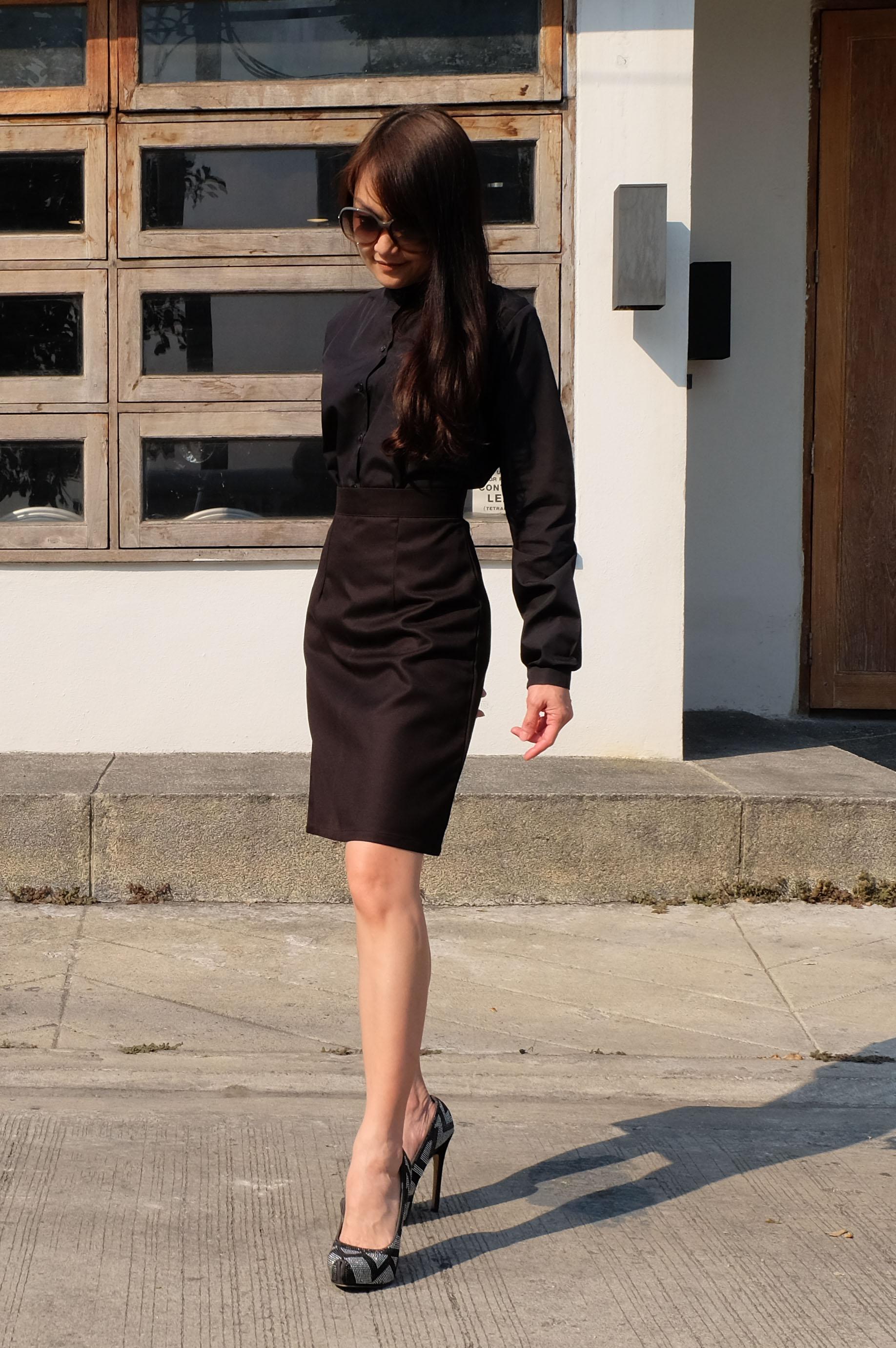 กระโปรงสั้น แบบบาน สีดำ Size XL