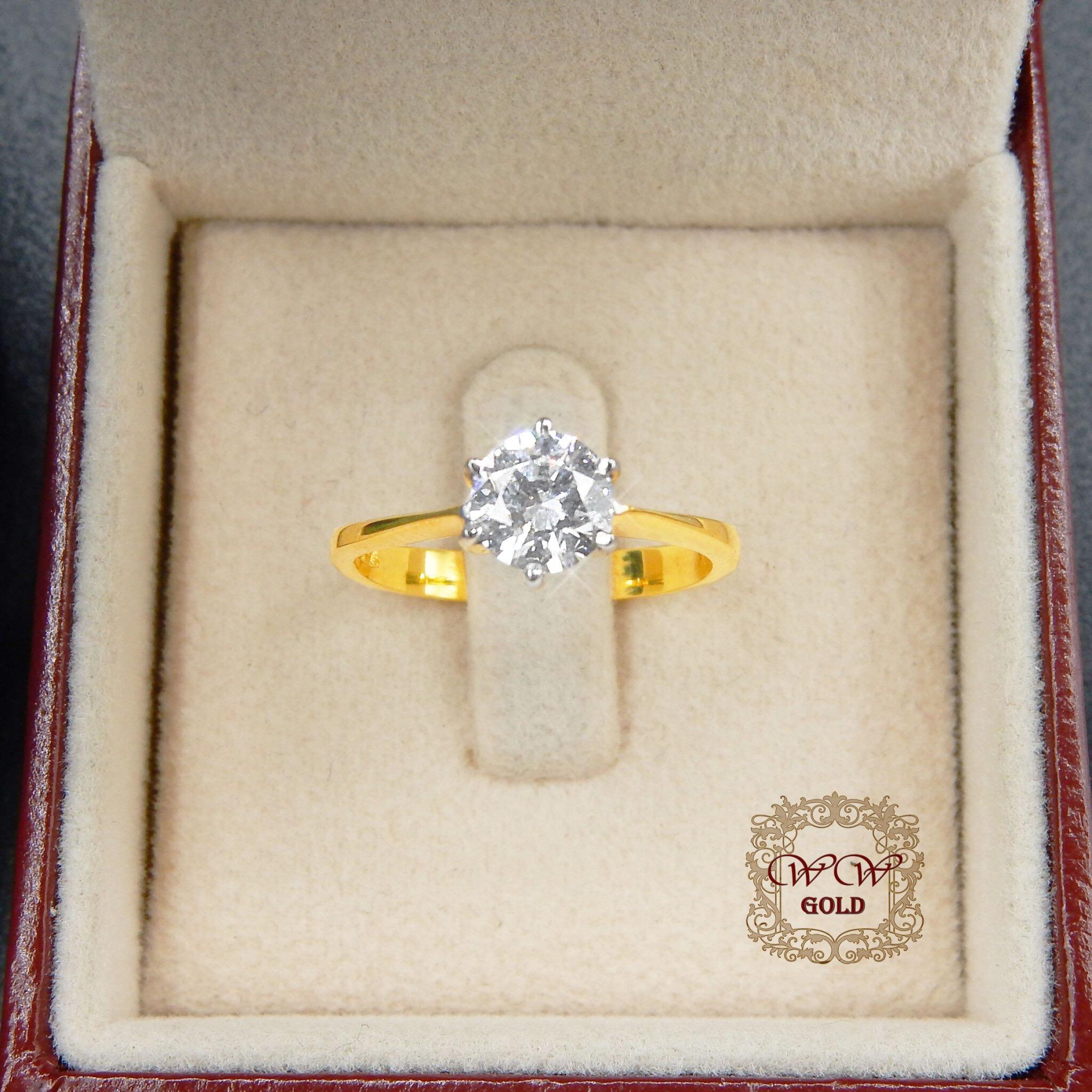 แหวนเพชรดีไซน์เม็ดเดียว (6 เตย)