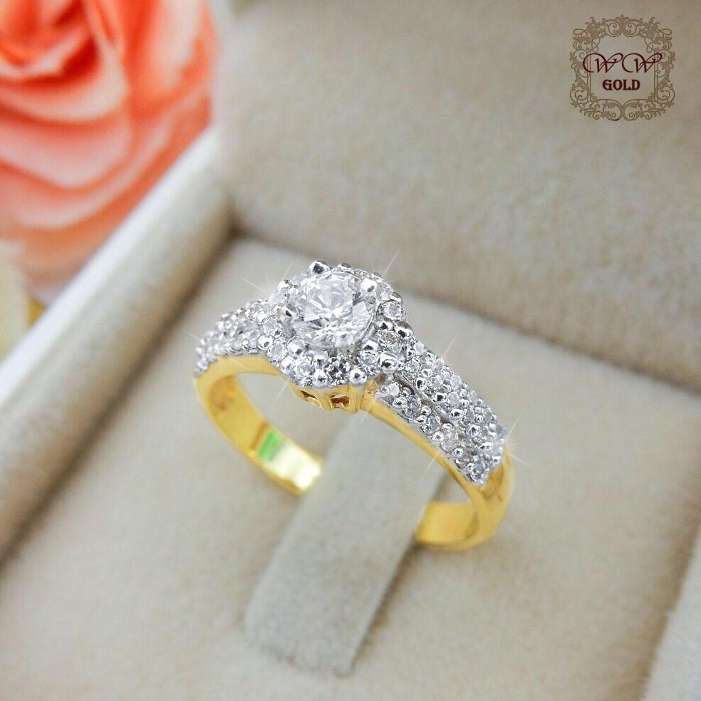 แหวนดีไซน์เพชรประกบ เรียงสวยระยิบ (Hat 3)