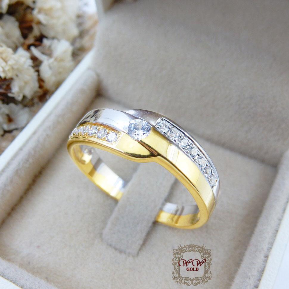 แหวนผู้ชายทูโทน (เพชรสวิส cz)
