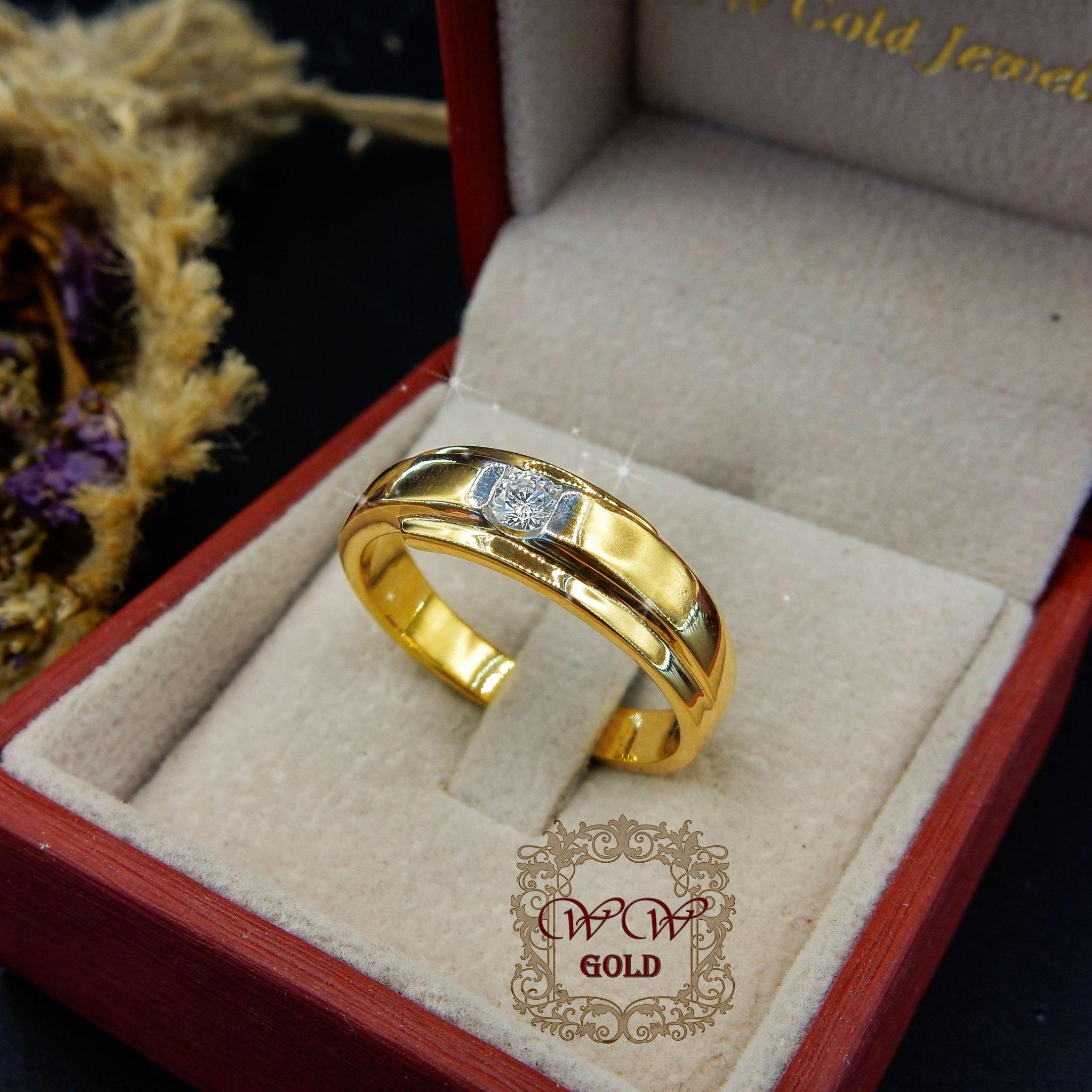 แหวนผู้ชาย ก้านโค้ง (เพชรแท้)