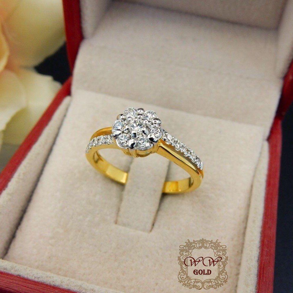 แหวนเพชรประกบเรียงสวยระยิบ (เพชรแท้เบลเยี่ยม)