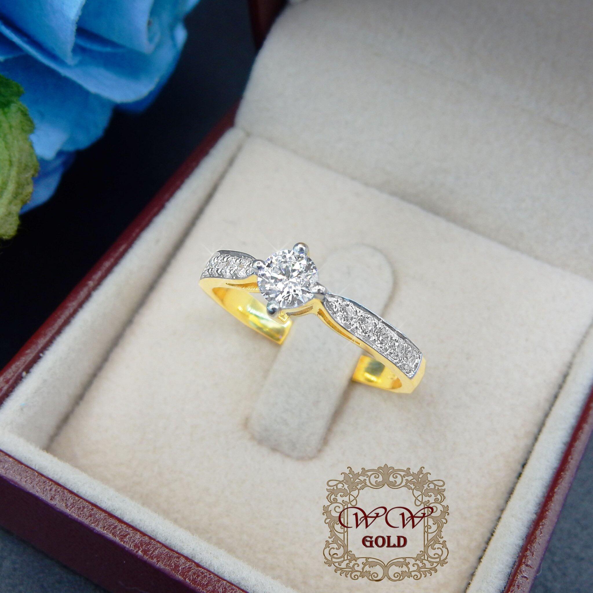 แหวนเพชรก้านแหวนเรียว(เพชรกลาง 20 สต)