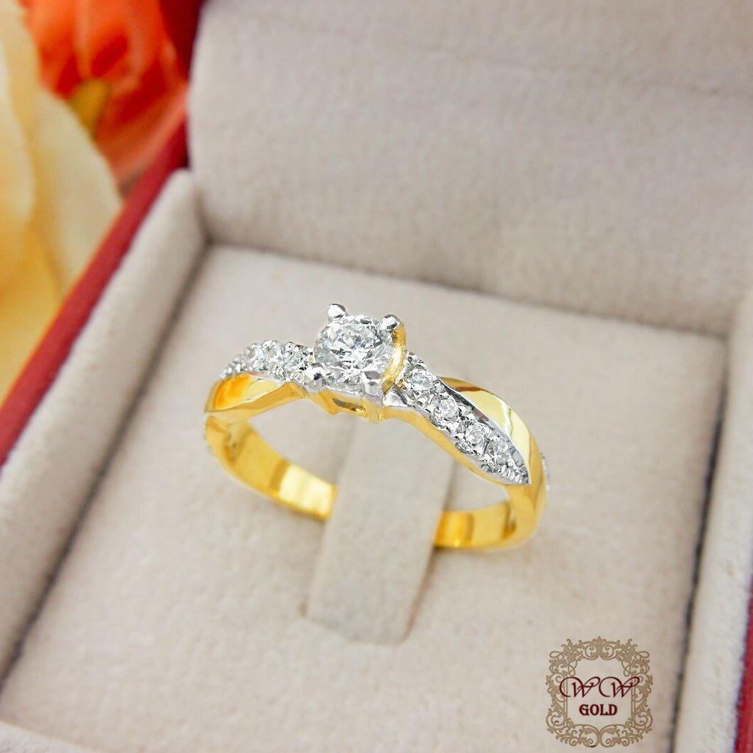 แหวนเพชรเบลเยี่ยม เม็ดกลาง 20 ตัง (ก้านไขว้)