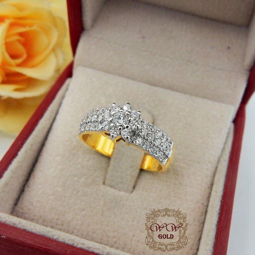 แหวนเพชรดอกพิกุล ก้านแหวนเพชร3แถว