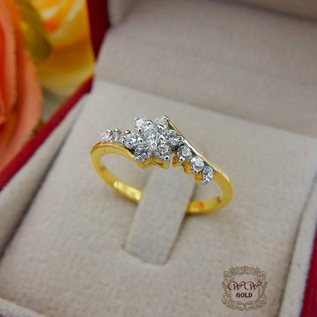 แหวนเพชรดีไซน์ดอกไม้ (ใบไม้) (เพชรสวิส cz)