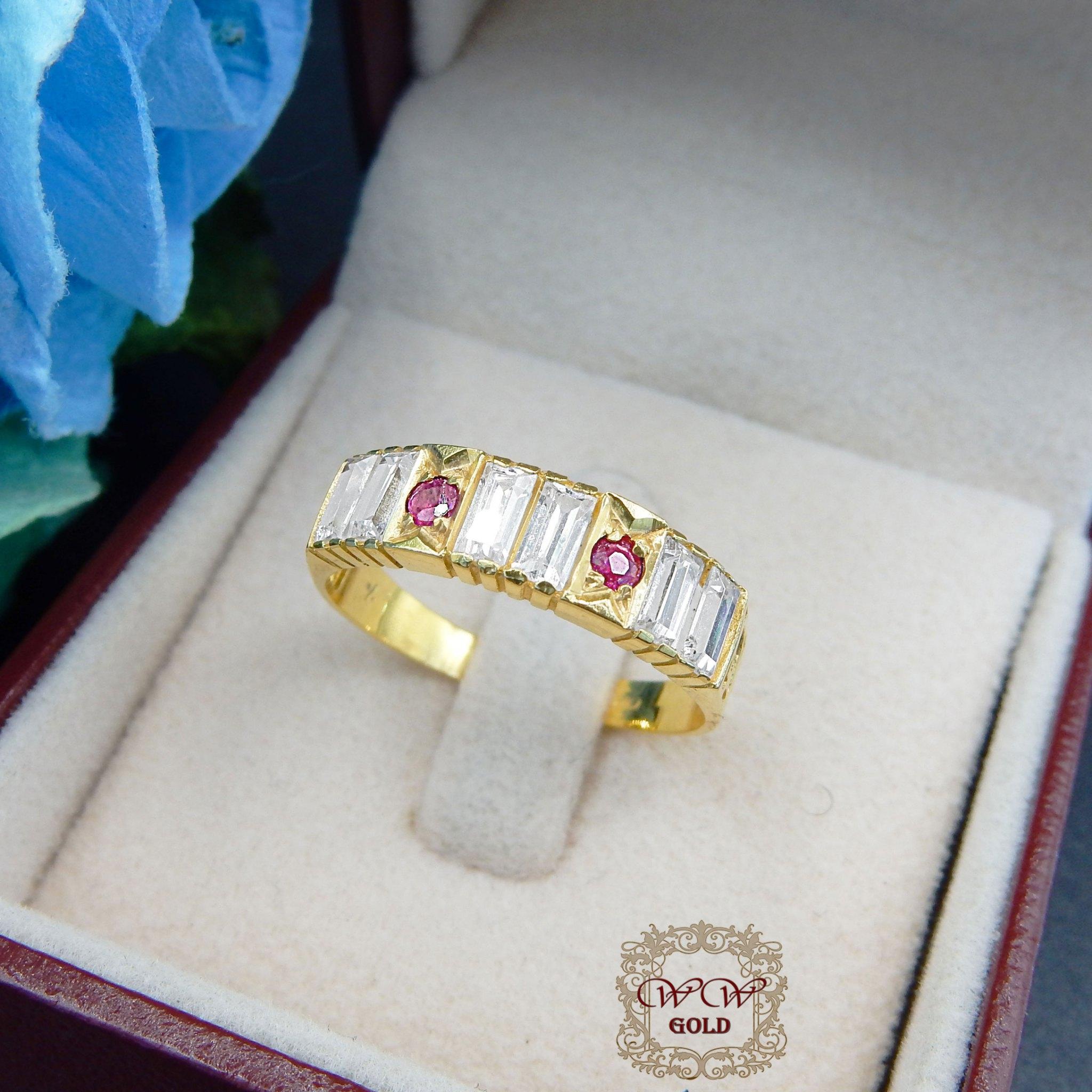 แหวนประเับทับทิมแท้+เพชรสวิสcz