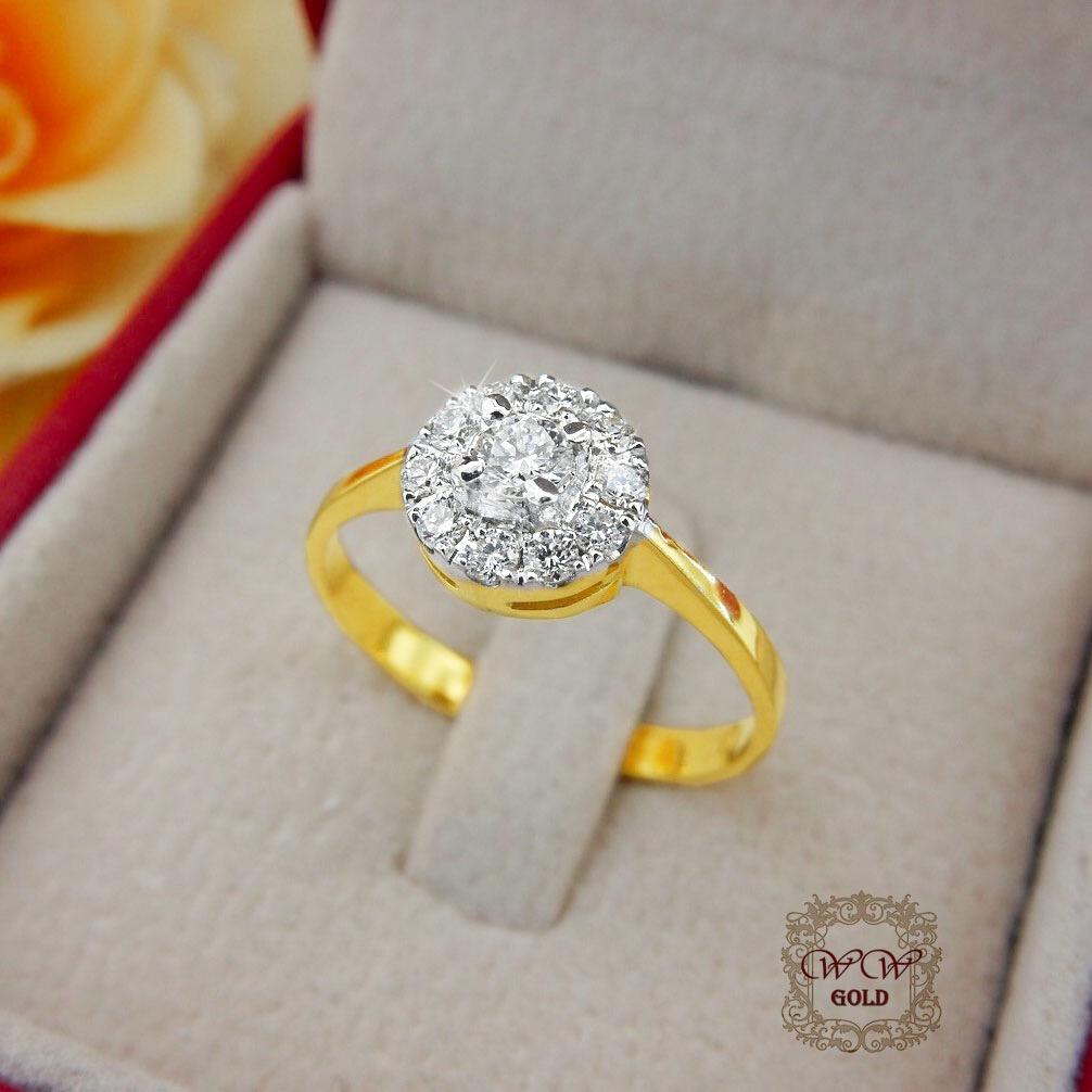 แหวนเพชรประกบ ก้านแหวนทอง