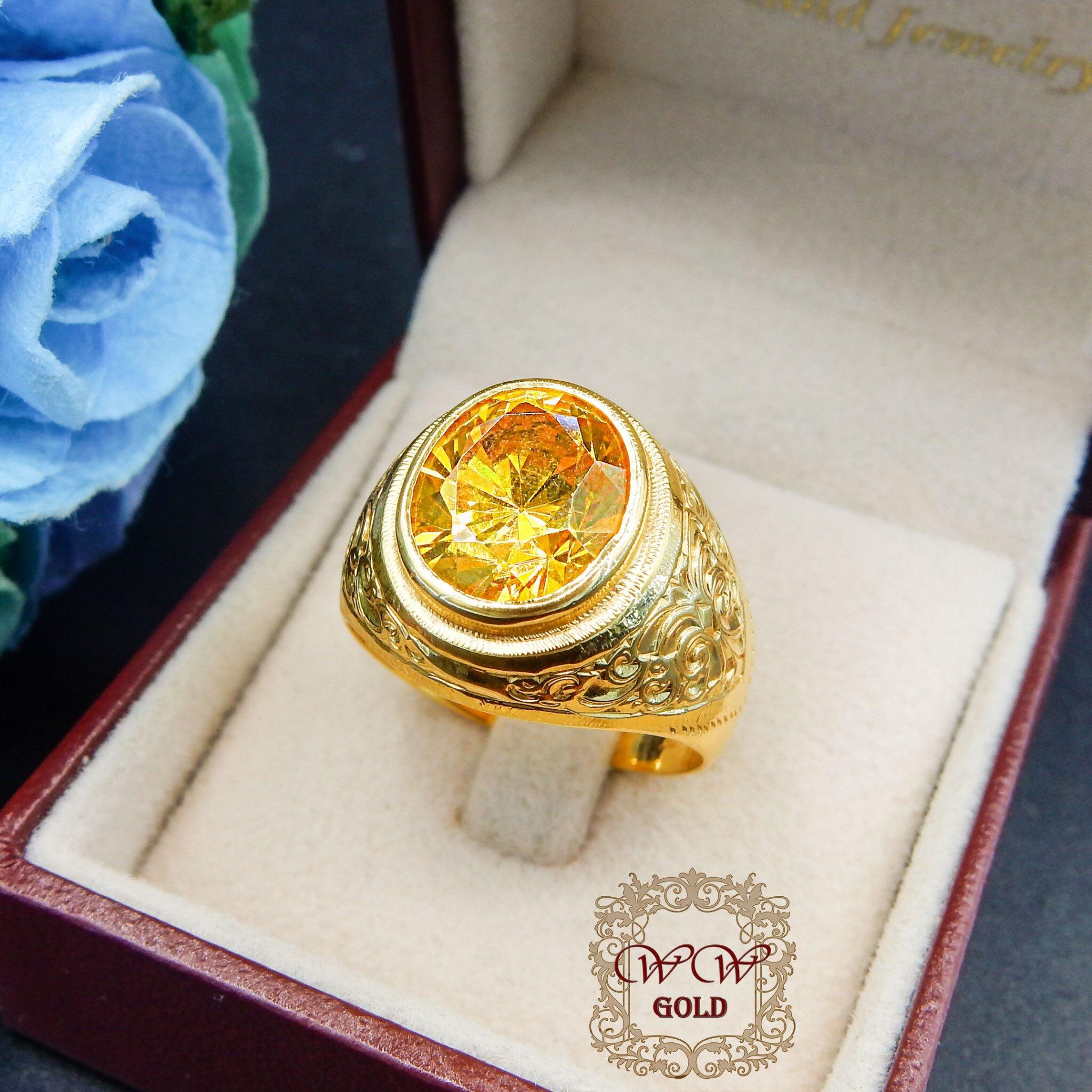 แหวนทรงมอญ พลอยสีเหลือง