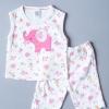 เสื้อแขนกุด กางเกงสามส่วน ลายช้างสีชมพู
