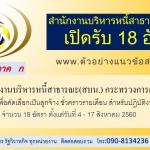 สำนักงานบริหารหนี้สาธารณะ(สบน.) กระทรวงการคลัง รับสมัครบุคคลเพื่อคัดเลือกเป็นลูกจ้างชั่วคราวรายเดือน สำหรับปฏิบัติงานใน สบน. 18 อัตราวันที่ 4 - 17 สิงหาคม 2560