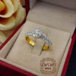 แหวนประกบดีไซน์ดอกไม้ ก้าน 2 แถว (เพชรเบลเยียมแท้)