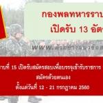 กองพลทหารราบที่ 15 เปิดรับสมัครสอบเพื่อบรรจุเข้ารับราชการ จำนวน 13 อัตรา ตั้งแต่วันที่ 12 - 21 กรกฎาคม 2560