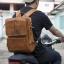 กระเป๋าเป้ กระเป๋าเดินทาง เป็นหนังวัวแท้ทั้งใบ เหมาะสำหรับท่านที่ชอบท่องเที่ยว ผจญภัย {โทนสีน้ำตาล}