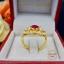 แหวนพลอยสีแดง + เพชรสวิส (cz) thumbnail 3
