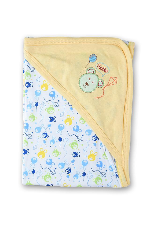 ผ้าห่อตัวเด็ก สีเหลือง ลายหมี
