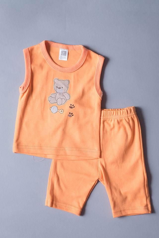 เสื้อแขนกุด กางเกงสามส่วน สีส้ม ลายหมี ขนาด 3-6 เดือน