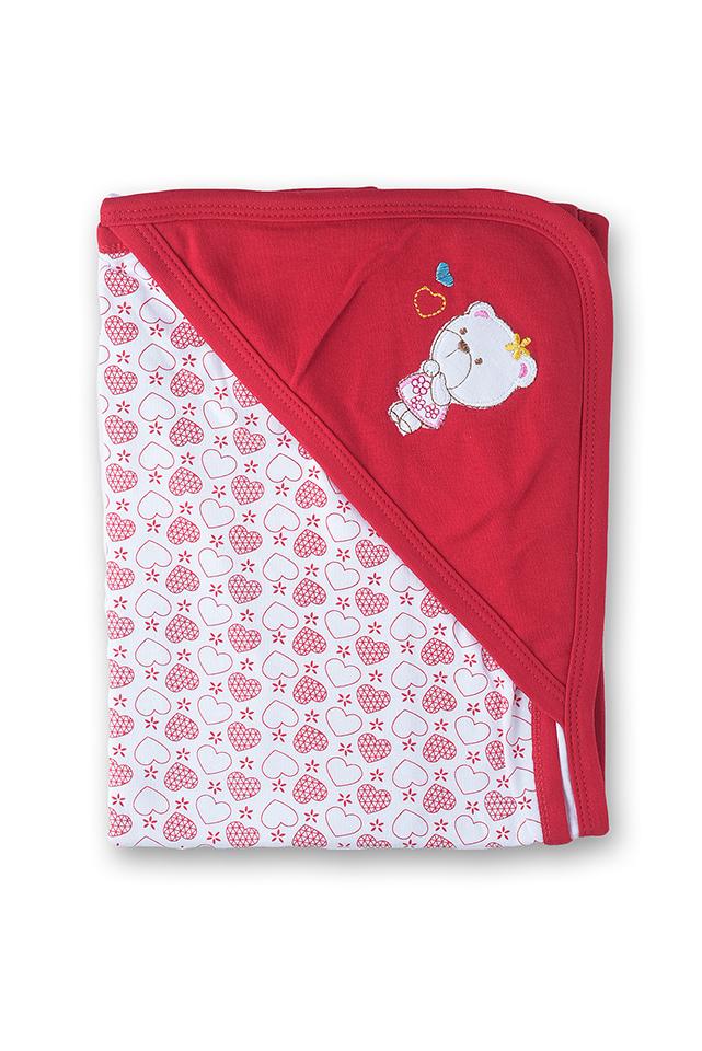 ผ้าห่อตัวเด็ก สีแดง ลายหมี