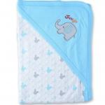 ผ้าห่อตัวเด็ก สีฟ้า ลายช้าง