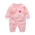 ชุดผูดเด็ก 0-3 เดือน ผูกหน้า สีชมพู ขายาว แขนยาว